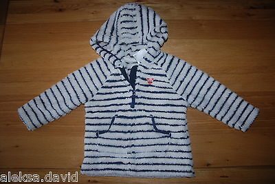 BNWT NEXT 5-6 years girls WHITE/NAVY BLUE FLEECE JACKET*JUMPER*HOOD!