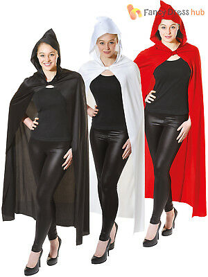 Adults Long Hooded Cape Red Black White Halloween Fancy Dress Accessory Ghost