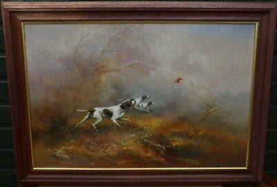 Fab Large Wooden Framed Painting On Canvas Of Gun Dogs Ater Bird By Kingman