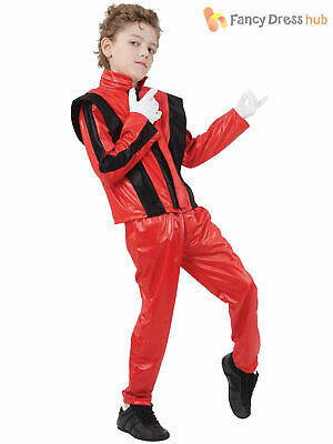 Boys Pop Superstar Costume Michael Jackson Thriller Childs Fancy Dress Outfit