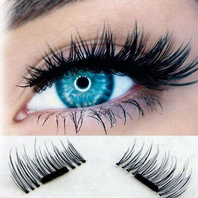 2 Pairs 3D Handmade Mink Reusable False Magnet Eye Lashes Set Magnetic Eyelashes