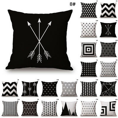 Black White Cotton Linen Throw Cushion Cover Pillow Case Waist For Home Sofa