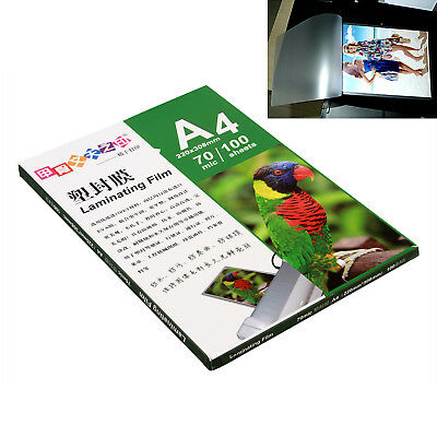 100 Sheets A4 Glossy Photo Paper Laminating Film Clear 70 mic Office Supply