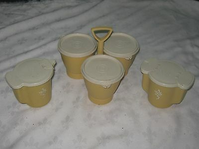 Vintage 70's Tupperware Harvest Gold Condiment Carry & Flip Top Sugar & Creamer