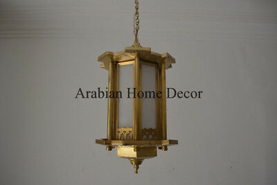 Middle Eastern Egyptian Moroccan Gold Brass Hanging Lamp Lantern Light