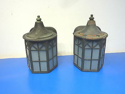 Vintage Wall Lantern Light Fixtures,Lot of 2,Frosted Glass,Copper Painted,USED