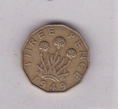 Key Date 1949 Key Date Brass Threepence In Good Fine Condition