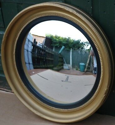Fab Looking Large Gilt Framed Porthole Type Wall Mirror With Convex Glass