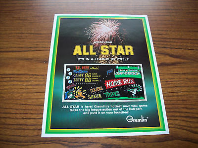 GREMLIN ALL STAR ARCADE WALL GAME FLYER BROCHURE 1970s