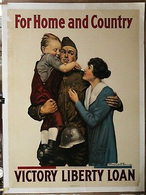 FOR HOME AND COUNTRY WW1 poster linen VICTORY LIBERTY LOAN 1918 30 x 40 1/2