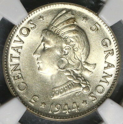 1944 NGC MS 62 Dominican Republic Silver 5 Centavos 1 Year Type Coin (16110608C)
