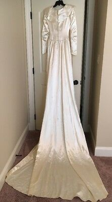 Vintage 1940's Off White Satin Wedding Dress Long Train As Is Size Small S