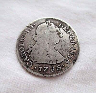 Peru Lima 2 Reales 1786 M I Weighs 6.36 Grams Of 903 Silver