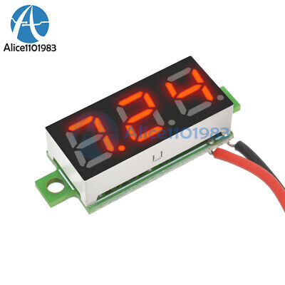 "Red 0.28"" 2 Wire Mini DC Digital Panel Voltmeter Panel Mount LED Voltage"