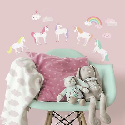 UNICORN MAGIC WALL DECALS Unicorns Rainbow Room Decor 23 Stickers Nursery Decor