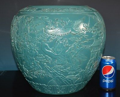 Stunning Antique Chinese Monochrome Porcelain Pot Marked Qianlong Rare P6699