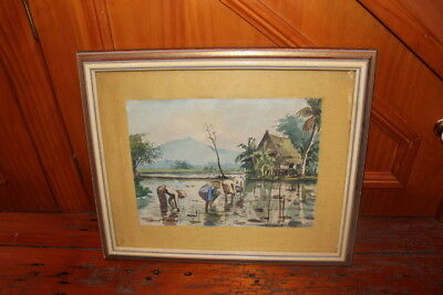 Vintage Malaysian Watercolor Painting By A.b. Ibrahim Signed