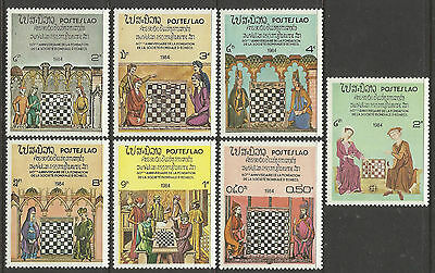 LAOS 1984 CHESS Stamps Complete Set 7v MNH
