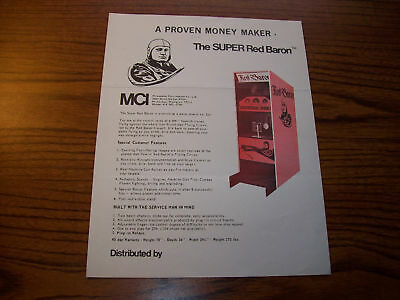 Mci Super Red Baron Arcade Game Flyer Brochure 1971
