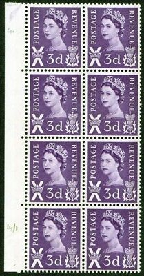 Scotland XS3 3d with 2 Phosphor Bands Block of 8 U/M