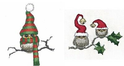 Heritage Crafts Cross Stitch Kit - Christmas - Ollie Owl or Ollie and Ivy 14ct