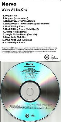 NERVO We're All No One 11TRX REMIXES & DUBS & INSTRUMENTAL PROMO DJ CD Single