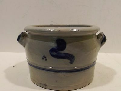 Small Biedermeier Tone/Stoneware Container with Handle -