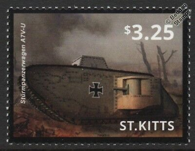 WWI German Sturmpanzerwagen A7V-U Storm Tank Stamp (2015 St Kitts)