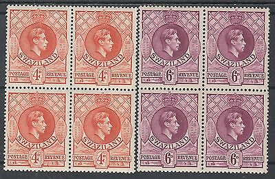 Swaziland 1938 Kgvi Shields 4D And 6D Mnh ** Blocks Perf 13.5 X 14