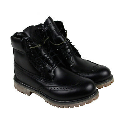 "Timberland 6"" Premium Brogue Boot Mens Black Leather Casual Dress Boots"