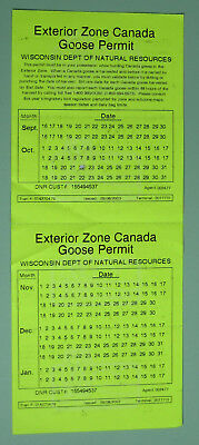 2003 Wisconsin Resident Goose Hunting Permit License...Free Shipping!
