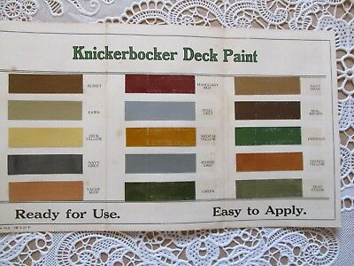 EARLY 1900 Knickerbocker Deck Paint,COLOR CHART,pull-out ADVERTISEMENT