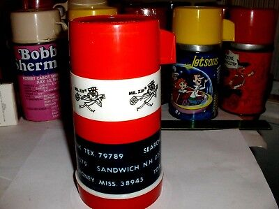 Mr Zip`1969`US Mail,Aladdin-Plastic Lunchbox-Thermos->Very Nice->Free To US