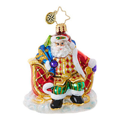 """Sleigh Valet"" Little Gem (Santa) Christopher Radko Glass Ornament w/ Box (#06)"
