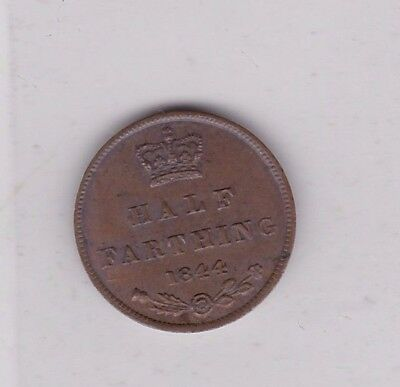 1844 Victorian Half Farthing In Near Extremely Fine Condition