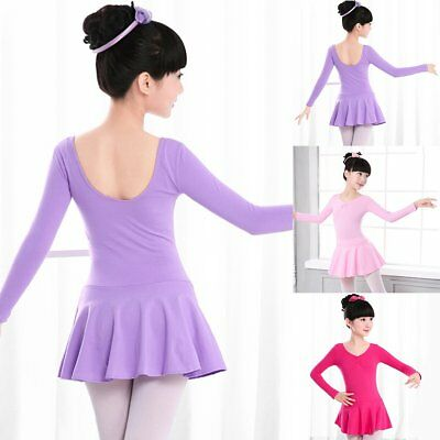 Girls Kids Long Sleeve Gymnastics Leotard Ballet Dress Tutu Skirt Dance Costumes