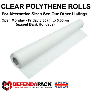 2 ROLLS of 2m x 100m Strong CLEAR POLYTHENE Plastic SHEETING Dust Sheet Glazing