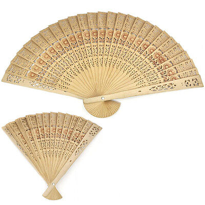 Vintage Folding Bamboo Original Wooden Carved Hand Fan Wedding Bridal Party DSUK