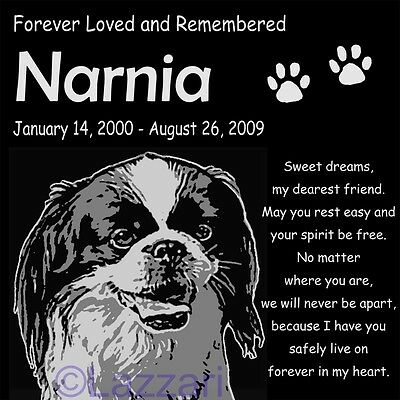 "Personalized Japanese Chin Spaniel Dog Pet Memorial 12""x12"" Granite Grave Marker"
