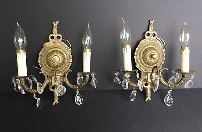 French Crystal Brass Wall Sconces