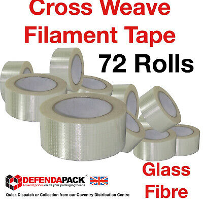 72 Rolls Cross Weave Reinforced Tapes 50mx50mm Weave Glass Filament Packing Tape