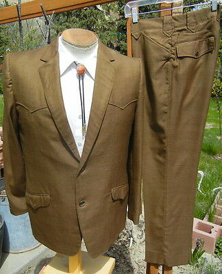 Vintage 1960s Western Sharkskin Suit 42R 30x29 - ALTERABLE Peg Leg KARMAN Cowboy