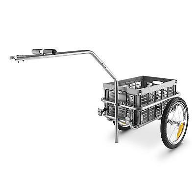 Trolley Trailer Cart For Bicycles Capacity 40L 40Kg 2 Tyres Grey