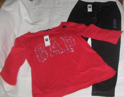 NWT Girls 10 GAP 2 Pc Outfit Leggings and 3/4 Sleeve Logo Top NEW