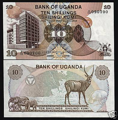 Uganda 10 Shillings P11 1979 Elephant Antelope Hippo Unc Africa Currency Money