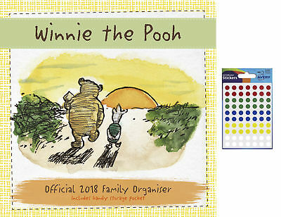 Winnie The Pooh Classic Official 2018 Family Organiser & 70 Coloured Stickers