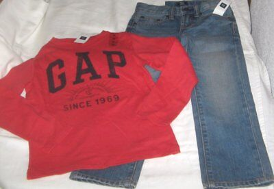 NWT Boys 5 GAP 2 Pc Outfit Jeans and Long Sleeve Logo Top NEW