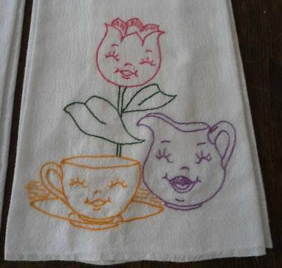 VTG Set 3 Feedsack Towels Embroidered Anthropomorphic Flowers Tea Cups Cotton