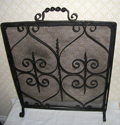 VINTAGE BLACK WROUGHT IRON & MESH FIRE / SPARK GUARD with CHARACTER