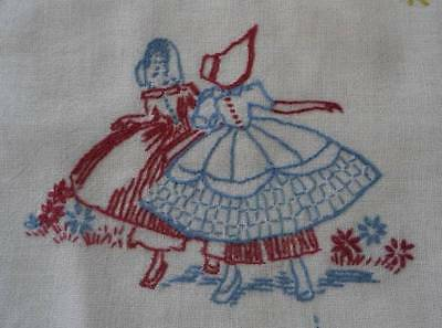 Vintage Linen Pillow Case Sham Embroidered Southern Belle Flowers Mexicali